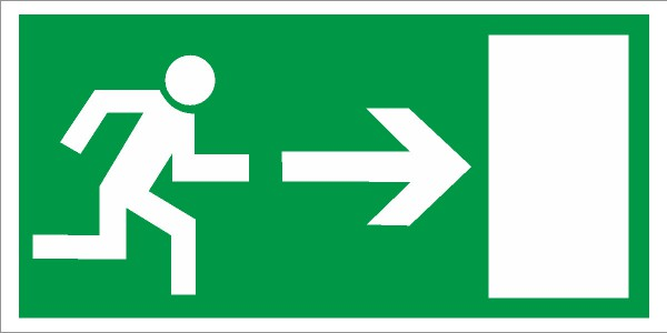 Rettungszeichen Rettungsweg rechts nach BGV A8 (E13)