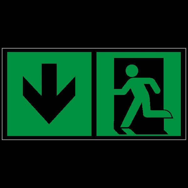 Rettungszeichen Rettungsweg abwärts gehen nach ISO 7010 (E001) ASR A1.3