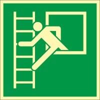 Rettungszeichen Notausstieg mit Fluchtleiter nach ISO 7010 (E016) / ASR A1.3