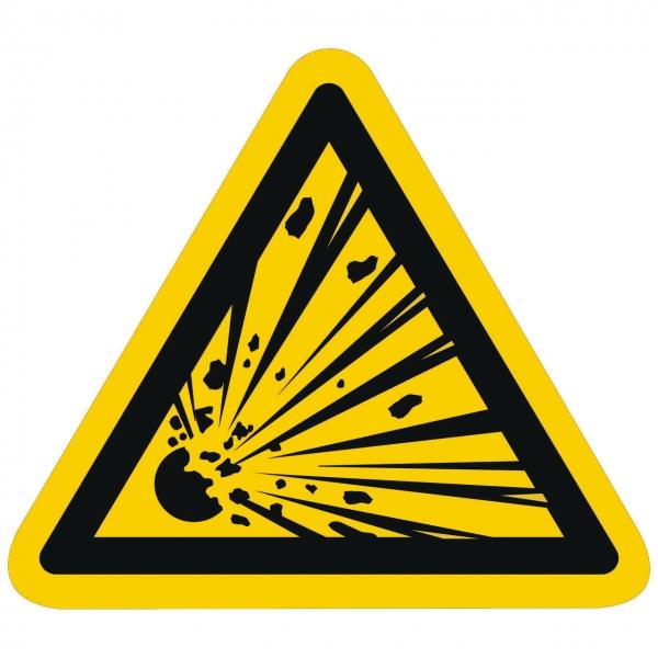 Warnzeichen Warnung vor explosionsgefährlichen Stoffen nach ISO 7010 (W002)