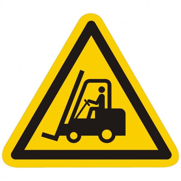 Warnung vor Flurförderzeugen nach ISO 7010 (W014)