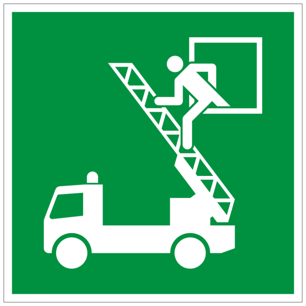 Rettungszeichen Rettungsausstieg nach ISO 7010 (E017) / ASR A1.3