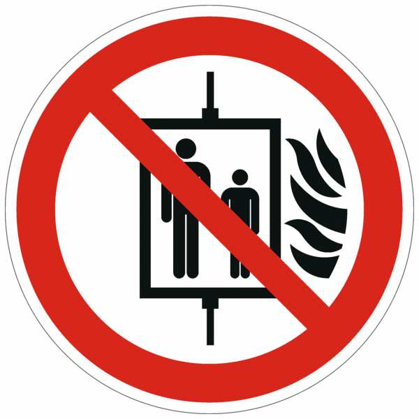 Verbotszeichen Aufzug im Brandfall nicht benutzen nach ISO 7010 (P020)