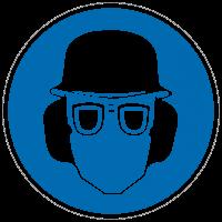 Gebotszeichen Augen-, Gehör- und Kopfschutz benutzen