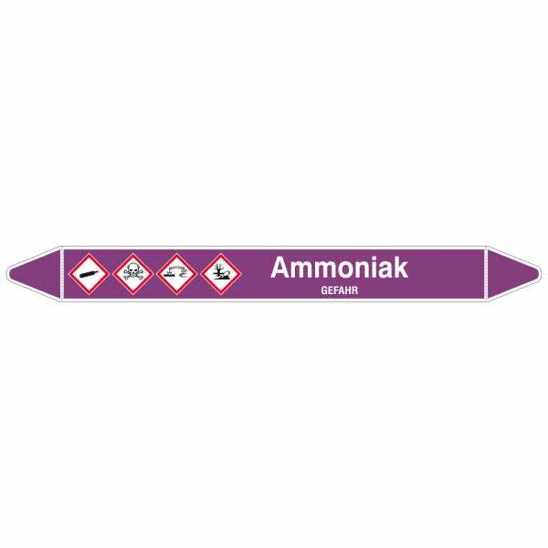 Brady Rohrmarkierer mit Text Ammoniak - GEFAHR