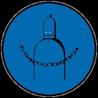 Gebotszeichen Druckgasflasche durch Kette sichern