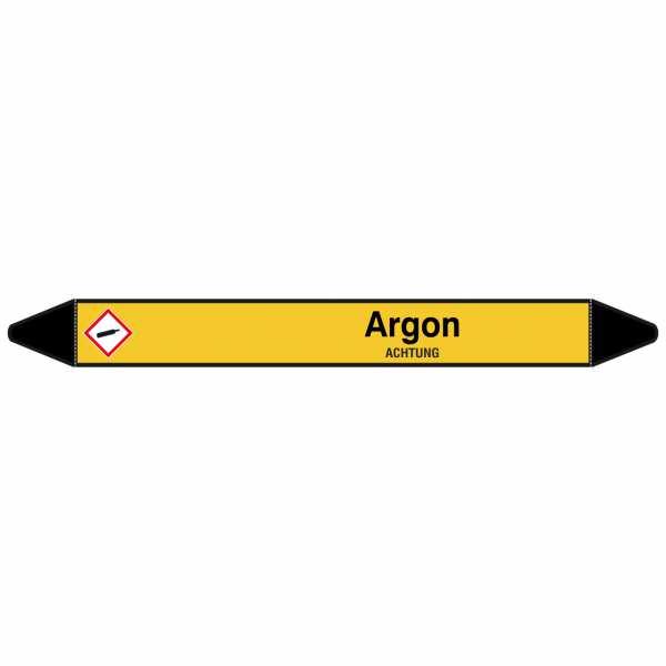 Brady Rohrmarkierer mit Text Argon - ACHTUNG