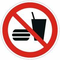 Verbotszeichen Essen und Trinken verboten nach ISO 7010 (P022)