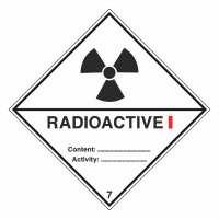 Gefahrzettel Radioaktive Stoffe, Kategorie I Klasse 7A