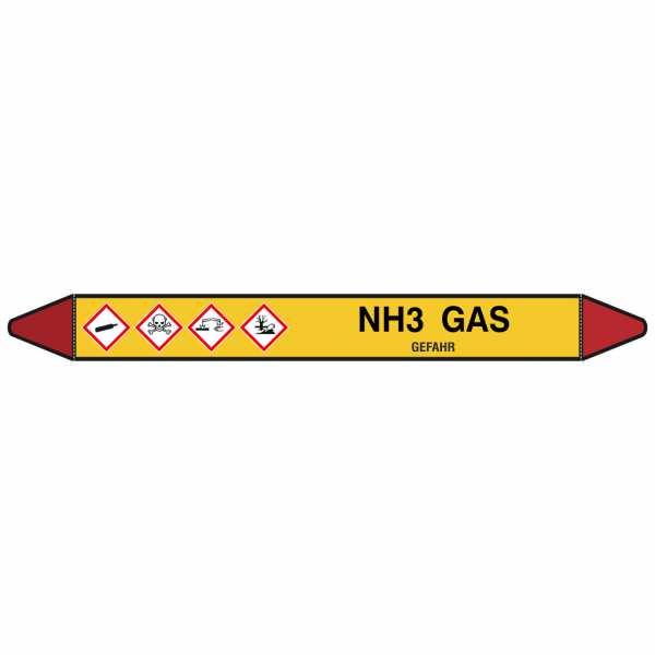 Brady Rohrmarkierer mit Text NH3 Gas - GEFAHR