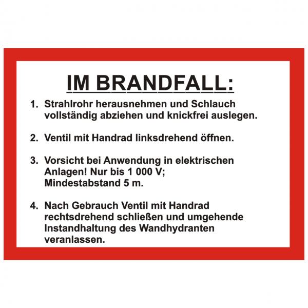 Handhabungsfolie Wandhydrant mit FW-Schlauch nach DIN 14461-6:2016-10