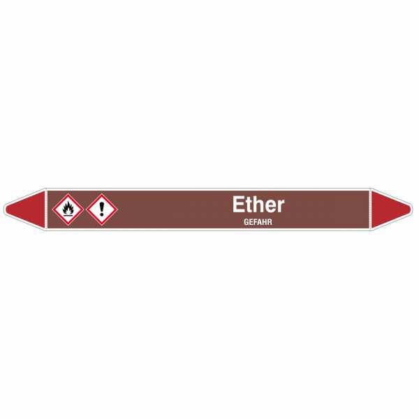 Brady Rohrmarkierer mit Text Ether - GEFAHR