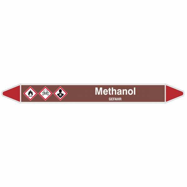 Brady Rohrmarkierer mit Text Methanol - GEFAHR