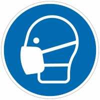 Gebotszeichen Kofpschutz benutzen nach ISO 7010 (M016)