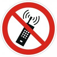 Verbotszeichen Eingeschaltete Mobiltelefone verboten nach ISO 7010 (P013)