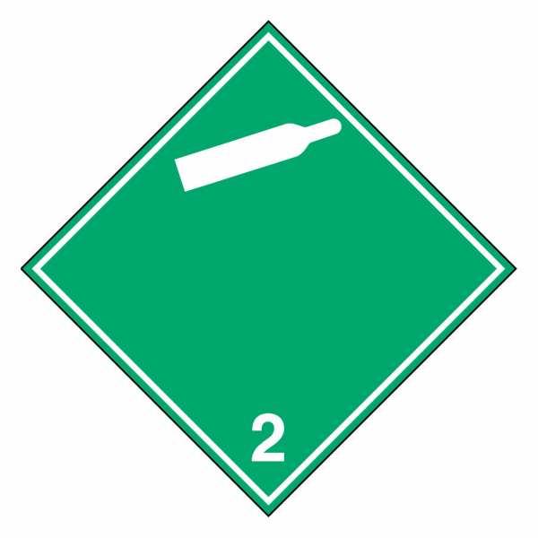 Gefahrzettel Nicht entzündbare, nicht giftige Gase (weiße Gasflasche) Klasse 2.2