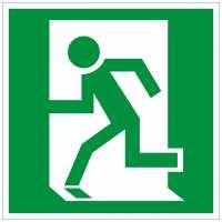 Rettungszeichen Rettungsweg links (BGV A8 E09)