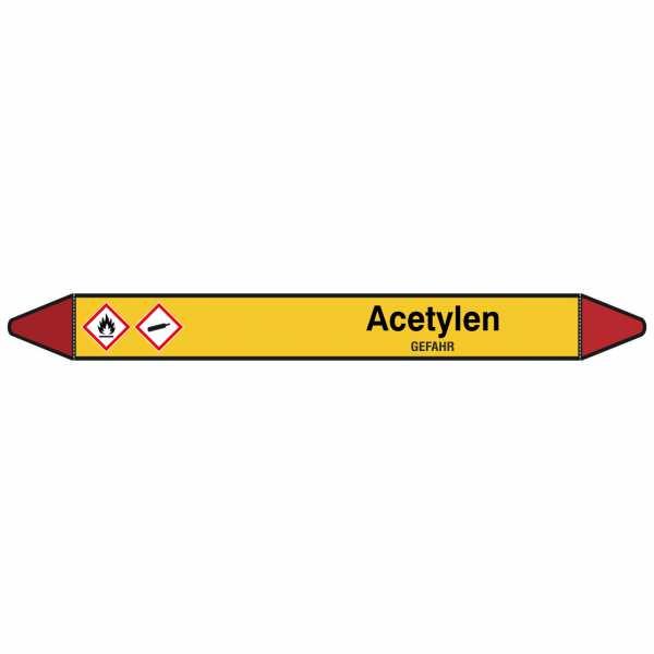 Brady Rohrmarkierer mit Text Acetylen - GEFAHR