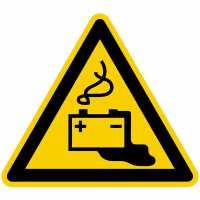 Warnung vor Gefahren durch Batterien nach BGV A8 (W20)