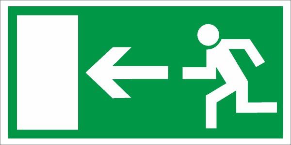 Rettungszeichen Rettungsweg links nach BGV A8 (E13)