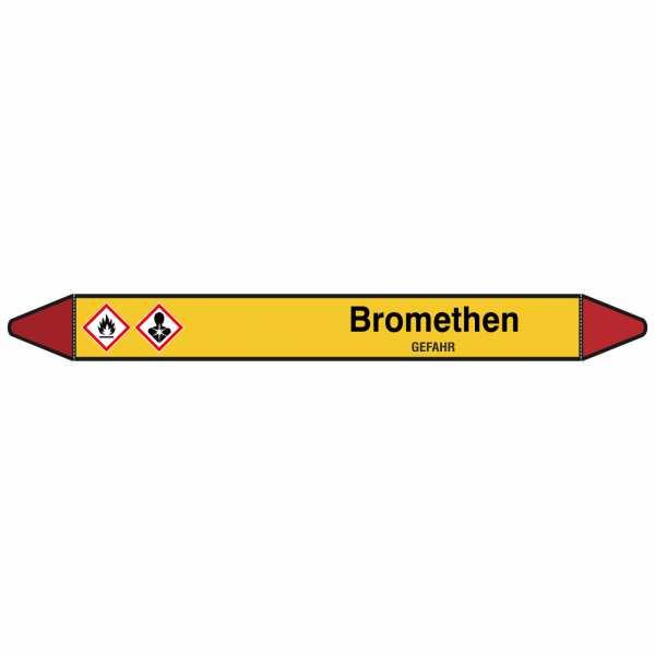 Brady Rohrmarkierer mit Text Bromethen - GEFAHR