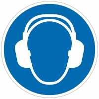 Gebotszeichen Gehörschutz benutzen nach ISO 7010 (M003)