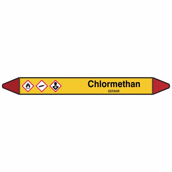 Brady Rohrmarkierer mit Text Chlormethan - GEFAHR