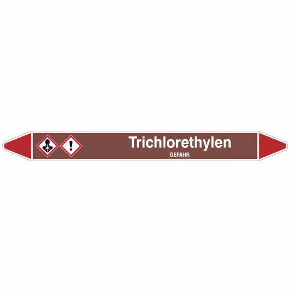 Brady Rohrmarkierer mit Text Trichlorethylen - GEFAHR