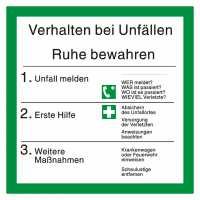Verhalten bei Unfällen mit Symbolen nach ISO 7010