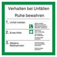 Sicherheitsaushang Verhalten bei Unfällen mit Symbolen nach BGV A8