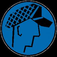 Gebotszeichen Schutzhaube tragen