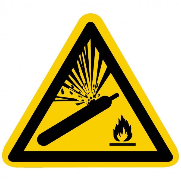 Warnzeichen Warnung vor Gasflaschen nach ISO 7010 (W029)