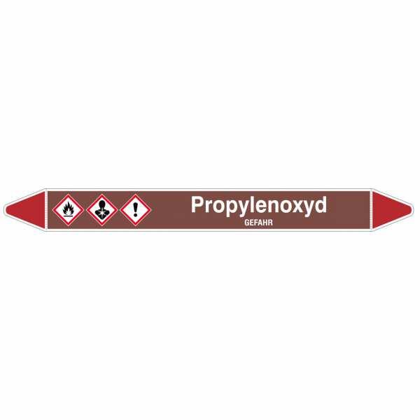 Brady Rohrmarkierer mit Text Propylenoxyd - GEFAHR