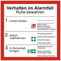 Verhalten im Alarmfall mit Symbolen nach ISO 7010