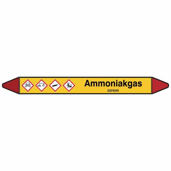 Brady Rohrmarkierer mit Text Ammoniakgas - GEFAHR