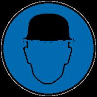 Gebotszeichen  Kopfschutz benutzen nach BGV A8 (M02)
