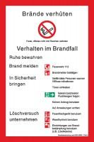 Brandschutzaushang nach DIN 14096-1 (Teil A) mit Symbolen nach ISO 7010