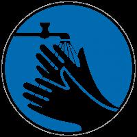 Gebotszeichen Hände waschen