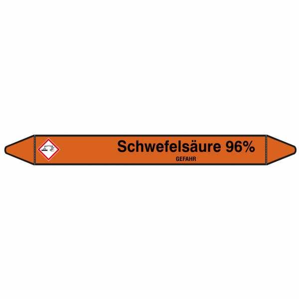 Brady Rohrmarkierer mit Text Schwefelsäure 96% - GEFAHR