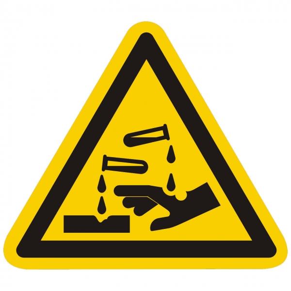 Warnung vor ätzenden Stoffen nach ISO 7010 (W023)