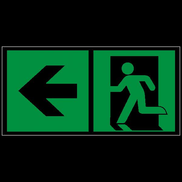 Rettungszeichen Rettungsweg - Notausgang links nach ISO 7010 (E001) / ASR A1.3