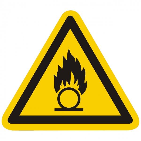 Warnzeichen Warnung vor brandfördernden Stoffen nach ISO 7010 (W028)