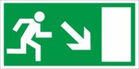 Rettungszeichen Rettungsweg rechts abwärts (BGV A8 E13)