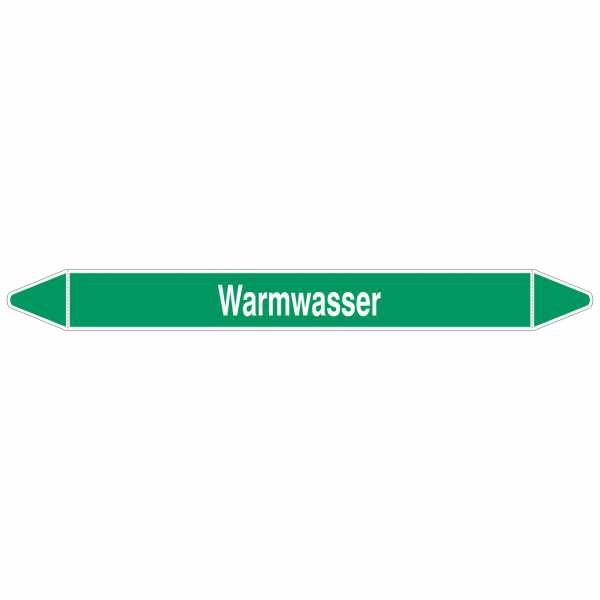 Brady Rohrmarkierer mit Text Warmwasser
