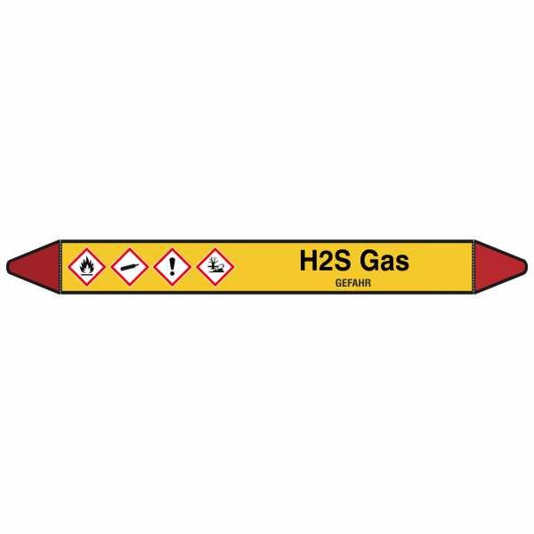 Brady Rohrmarkierer mit Text H2S Gas - GEFAHR
