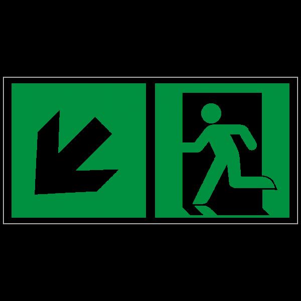 Rettungszeichen Rettungsweg links abwärts nach ISO 7010 (E001) ASR A1.3
