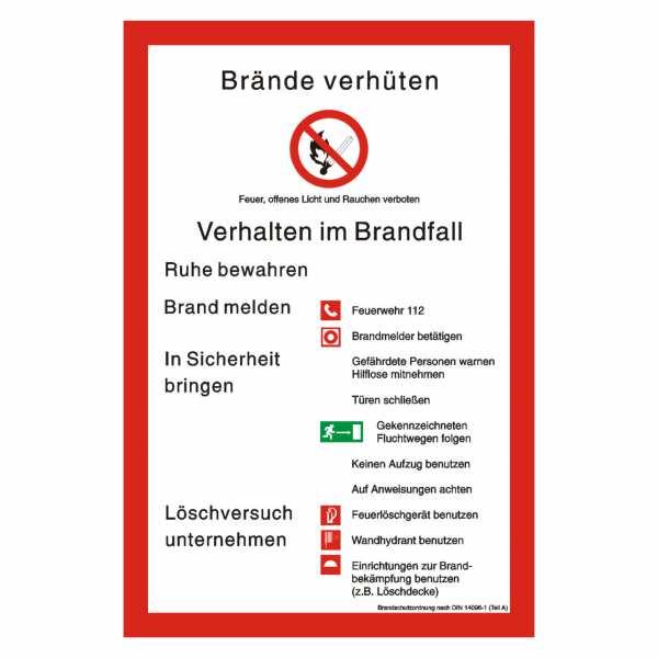 Brandschutzordnung nach DIN 14096-1 (Teil A) mit Symbolen nach BGV A8