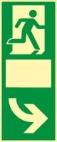 Rettungszeichen Türgriffhinterlegung rechtsweisend mit Symbol nach ISO 7010