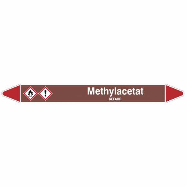 Brady Rohrmarkierer mit Text Methylacetat - GEFAHR