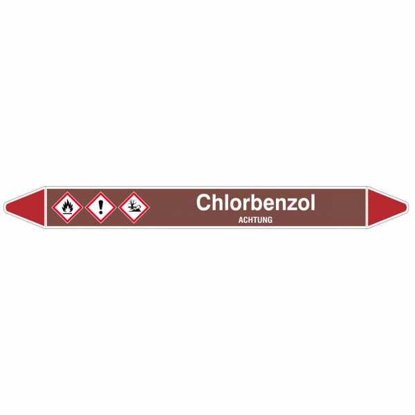 Brady Rohrmarkierer mit Text Chlorbenzol - ACHTUNG